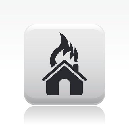 ensuring: Vector illustration of single isolated burning car icon