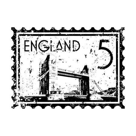 london tower bridge: Vector illustration of single isolated London print icon
