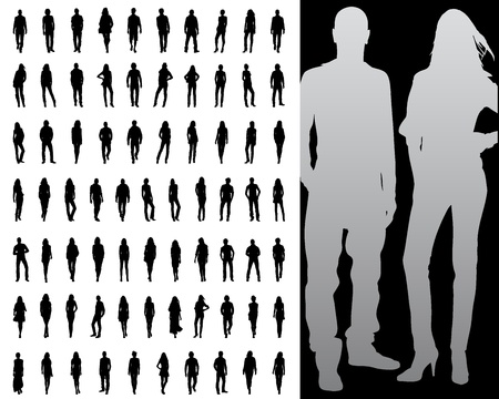 Vector illustration of single isolated fashion silhouette collection Ilustração