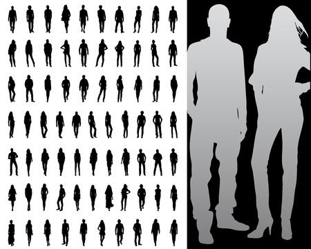 Vector illustration of single isolated fashion silhouette collection Illusztráció