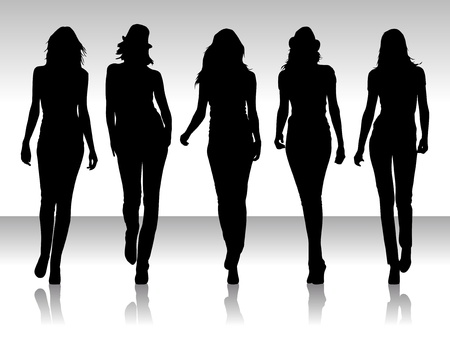 Vector illustration of isolated girs silhouette collegtion Vector