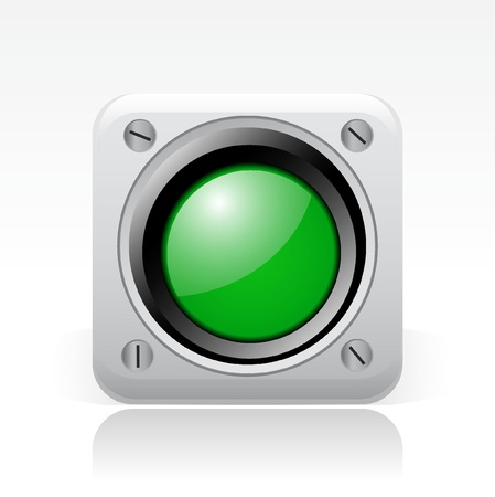 semaphore: Vector illustration of single isolated green traffic light icon