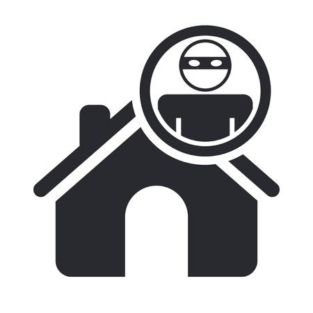 ladron: Ilustraci�n vectorial de una sola casa aislada ladr�n icono Vectores