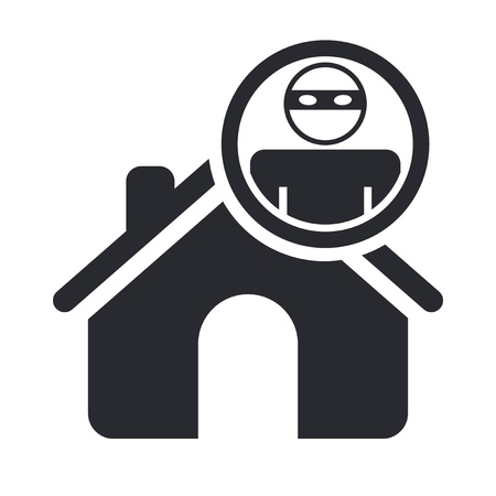 Vector illustration of single isolated home thief icon  Vector