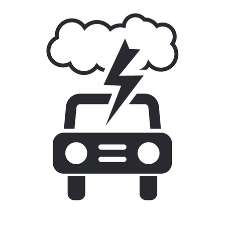 prudence: Vector illustration of single isolated car storm icon