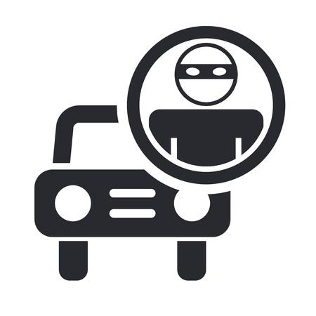 robo de autos: Ilustración vectorial de un solo icono aislado ladrón de coches