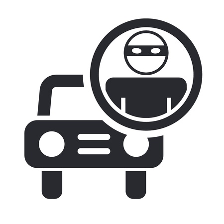 Vector illustration of single isolated thief car icon