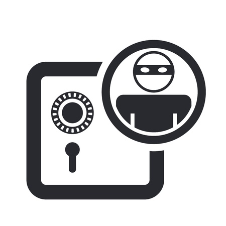 Vector illustration of single isolated bank thief icon  Illustration