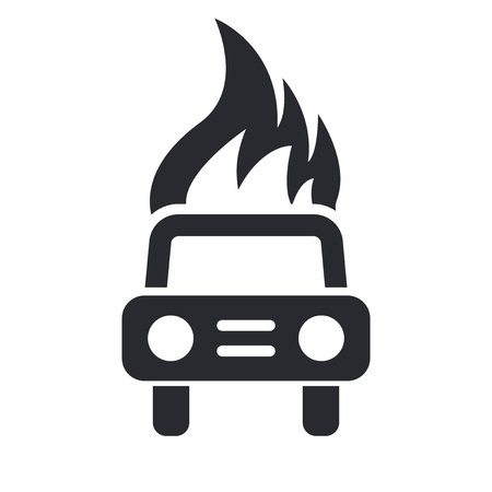 Vector illustration of single isolated car burning icon  Stock Vector - 12124525