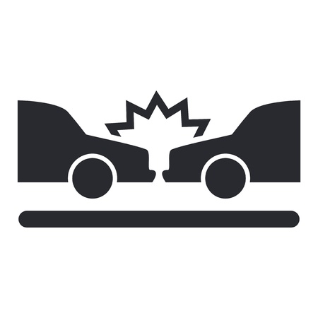 collision: Vector illustration of single isolated car crash icon