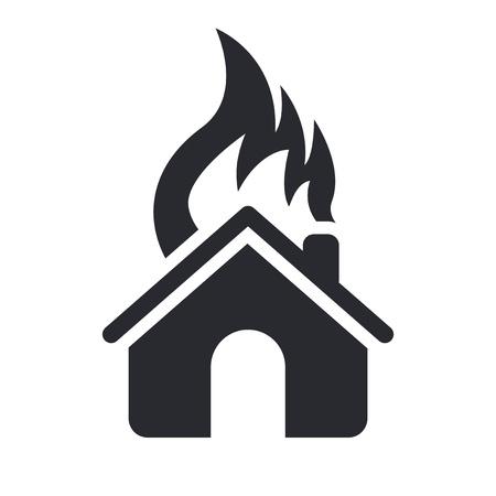 incendio casa: Ilustración vectorial de casa unifamiliar aislado ardiente icono