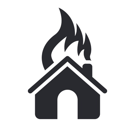 apartment house: Vector illustration of single isolated house burning icon
