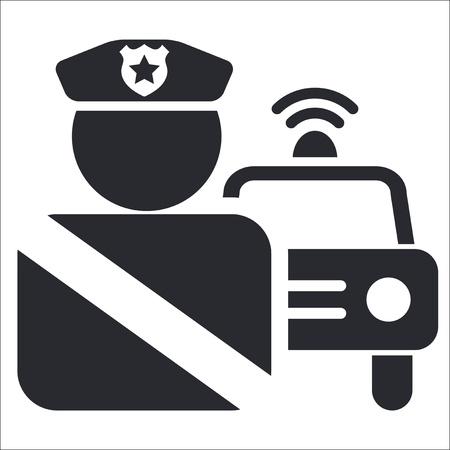 patrol cop: Ilustraci�n vectorial de la polic�a solo icono aislado Vectores