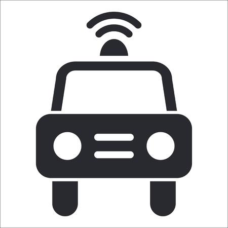blocco stradale: Illustrazione vettoriale di singola icona di polizia isolato Vettoriali