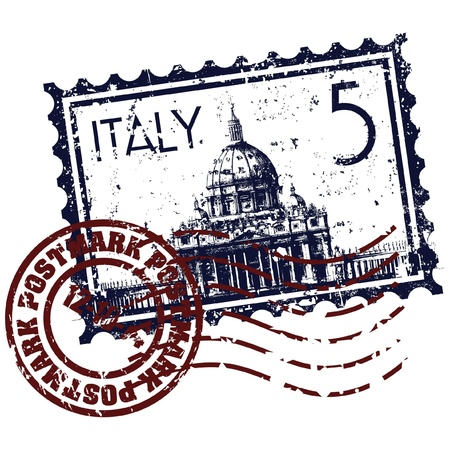 vatican city: Vector illustration of single isolated Italy stamp icon