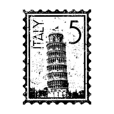 pisa tower: Vector illustration of single isolated Italy stamp icon