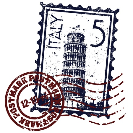 leaning: Vector illustration of single isolated Italy stamp icon