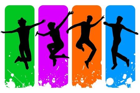 bocetos de personas: Ilustraci�n vectorial de un solo icono aislado feliz a la gente
