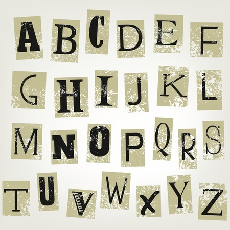 Vector illustration of single isolated letters in collage Vectores