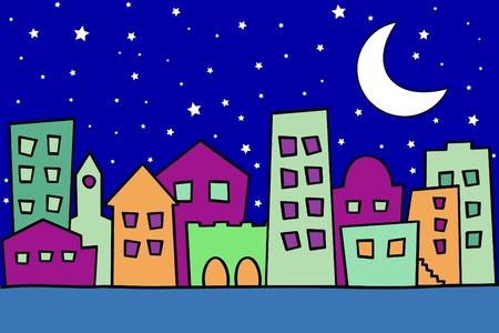 hometown: Vector illustration of stylized night city Illustration