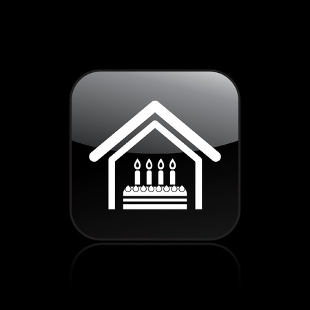 domicile: Vector illustration of single isolated home birthday icon  Illustration