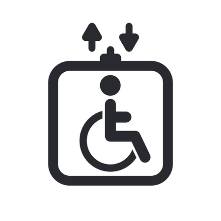 Vector illustration of single isolated handicap elevator icon