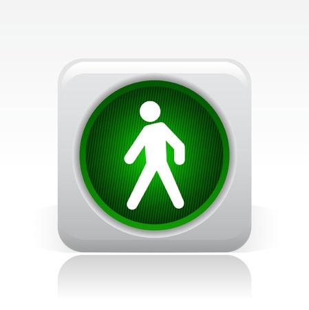 traffic signal: Vector illustration of single isolated green traffic light icon