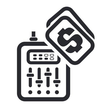dee jay: Vector illustration of single isolated dj price icon  Illustration