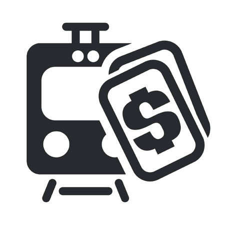 Ilustración vectorial de un solo icono aislado billete de tren