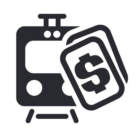 Vector illustratie van enkele geïsoleerde trein ticket icon Stock Illustratie