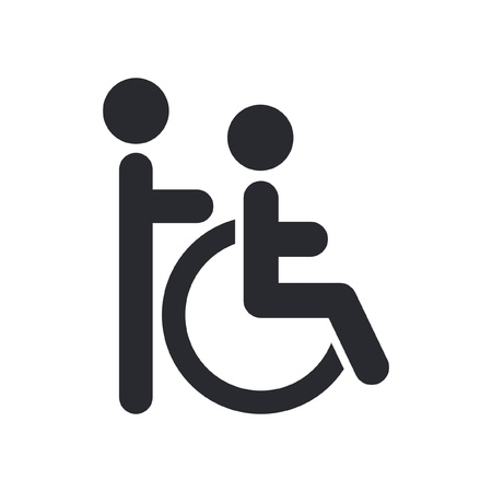 Vector illustration of single isolated handicap assistant icon