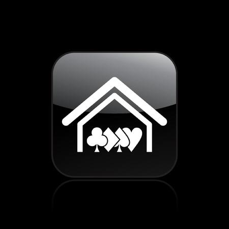 hold'em: Vector illustration of single isolated poker house icon