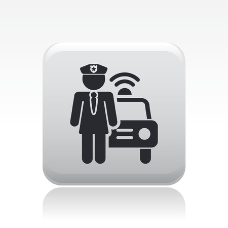 police icon: Vector illustration of single isolated police girl icon