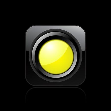 Vector illustration of single isolated yellow traffic light icon Stock Vector - 12121428