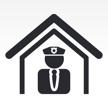 security uniform: Ilustraci�n vectorial de un solo icono aislado estaci�n de polic�a