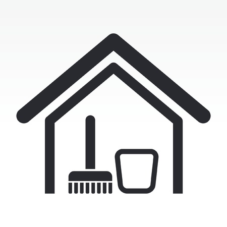 clean office: Vector illustration of single isolated clean house icon