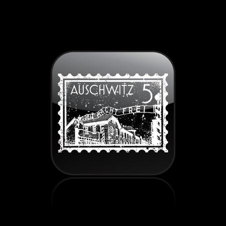 holocaust: Vector illustration of single isolated auschwitz icon Illustration