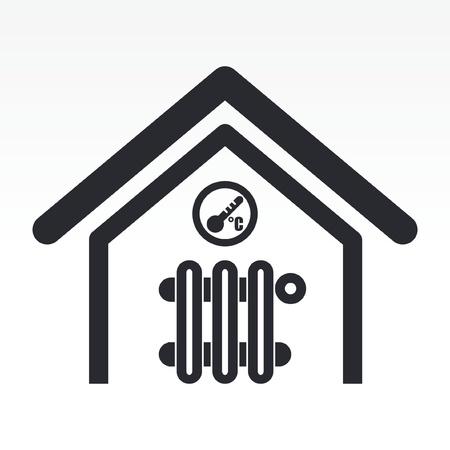 hot temperature: Ilustraci�n vectorial de un solo icono de la temperatura del hogar aislado