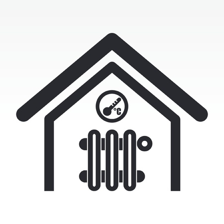 home heating: Vector illustration of single isolated home temperature icon