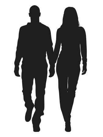 Vector illustration of fashion people silhouette Illusztráció
