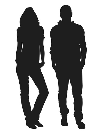Vector illustration of fashion people silhouette Vector