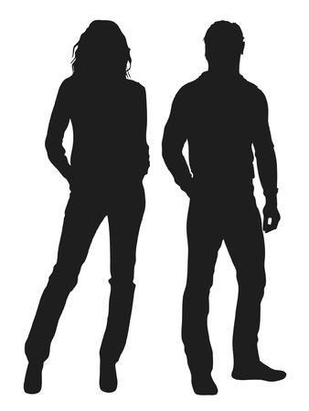 meisje silhouet: Vector illustratie van de mode mensen silhouet