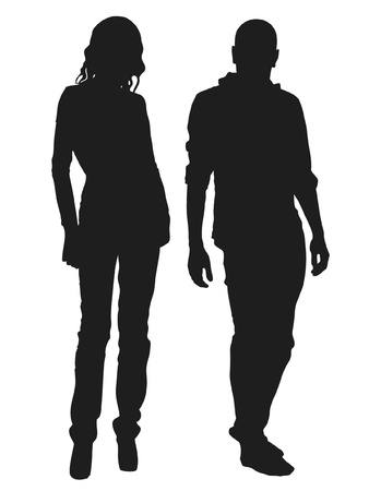 Vector illustration of fashion people silhouette Иллюстрация