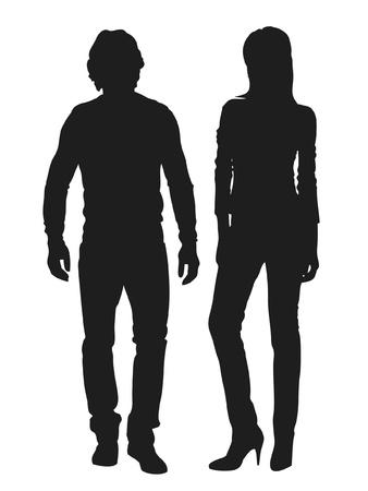 Vector illustration de gens de la mode silhouette