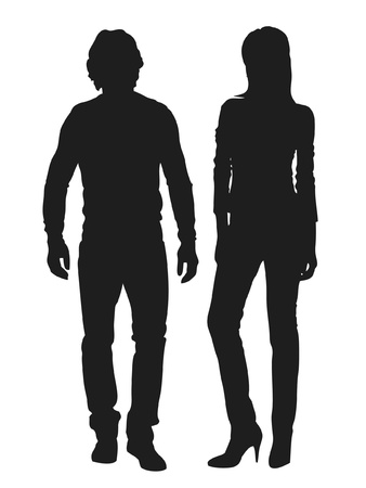 Vector illustration of fashion people silhouette Illusztráció