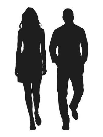 omini bianchi: Illustrazione vettoriale di moda persone silhouette