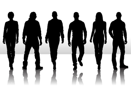Vektor illustration av mode människor silhuett