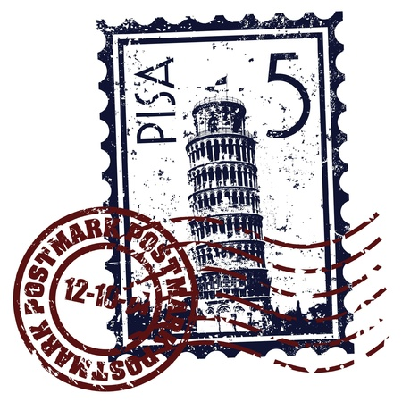 leaning: Vector illustration of single isolated Pisa icon