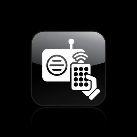 command button: Vector illustration of single isolated radio controller icon Illustration