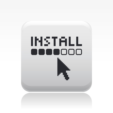 install: Vector illustration of single isolated install icon Illustration